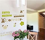 Revesun Coffee Mill Wall Sticker Decals Cups Dinnerware Removal Vinyl Wallpaper Kitchen Dining Room Cafe Store Restaurant Decor