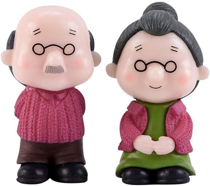 pengyu- Gartendekoration alte Paar-Figur 2 St/ück alte Paare Gro/ßeltern Modell-Figur Mini-Landschaft Bonsai-Gartendeko Hof
