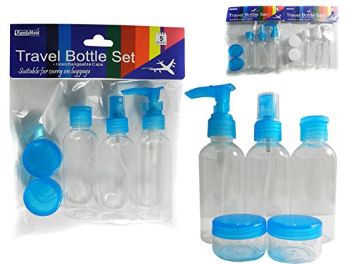 5PC Travel Bottle Set Includes 3 bottles, 2 jars , Case of 96 by DollarItemDirect