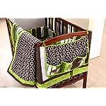Nursery-Crib-Bedding-Set-Frog-Crib-Bedding-Set-10-Count-with-Quilt-BumperSheetCrib-SkirtToy-BagDaiper-StackerOrganizerWindow-ValancesPillowsGreenBrownLime-GreenWhite