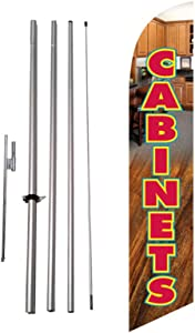 New Cabinets Sale Advertising Feather Flag Banner w/Pole kit and Ground Spike