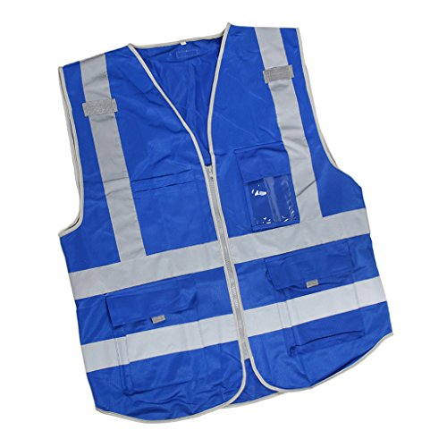 Prettyia Hi-Vis Safety Vests Zippered Reflective Tapes Jacket Waistcoat Breathable Reflective Strips with Zippers - Blue (Horizontal Reflective Tape)