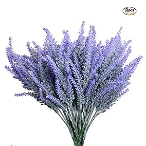 Aplstar 8pcs Artificial Lavender Bouquet in Purple Flowers DIY Floor Garden Office Bridal Home Wedding Decor 58