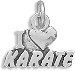 Sterling Silver Charm, 1/2 inch tall, I Love Karate