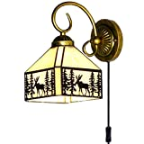 Kiven Tiffany Wall lamp E26 1-Light Plug-in Bulb not Included Wall Sconce Glass Shade 6 Foot Black Cord(BD0508)