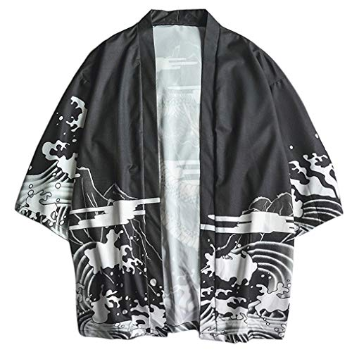 Men's Cardigan Long Length Lightweight Poncho Cloak Open