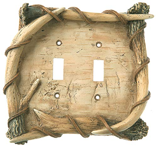 Big Sky Carvers 30170279 Birch Antler Double Switch Plate