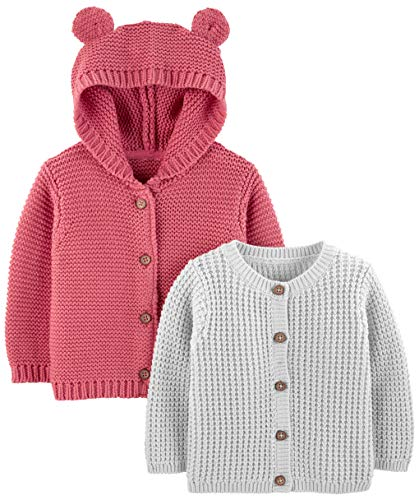r's Baby 2-Pack Neutral Knit Cardigan Sweaters, Grey/red, 6-9 Months ()