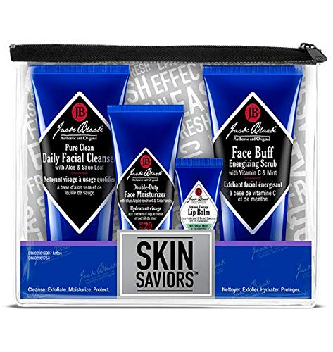 JACK BLACK – Skin Saviors Set – Pure Clean Daily Facial Cleanser, Face Buff Energizing Scrub, Double Duty Face Moisturizer SPF 20, Intense Therapy Lip Balm SPF 25, 4-Piece Kit