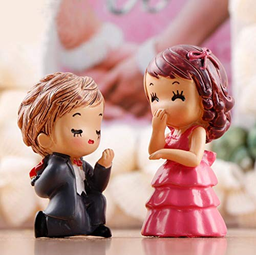 - SweetGifts Propose Marriage Theme Bride and Groom Couple Figurines Miniatures Marry Me Ornaments Crafts Fairy Garden Bonsai Dollhouse 2PCS