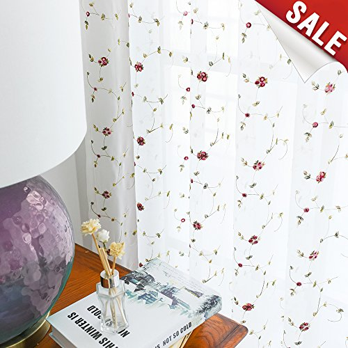 Sheer Curtains Floral Embroidered Curtains for Bedroom 63 inches Length Red Rose Buds on White Rod Pocket Voile Panels for Living Room - Floral Curtain