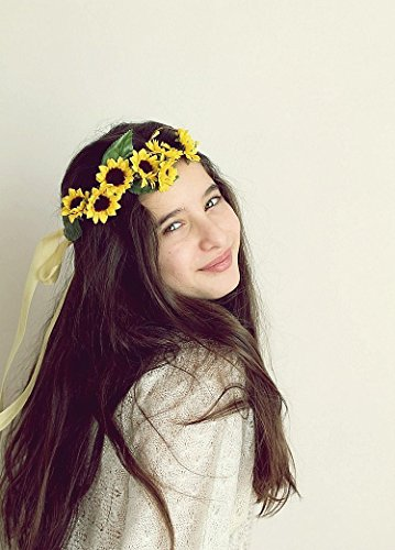 Sunflower Bridal Crown, Woodland Headband