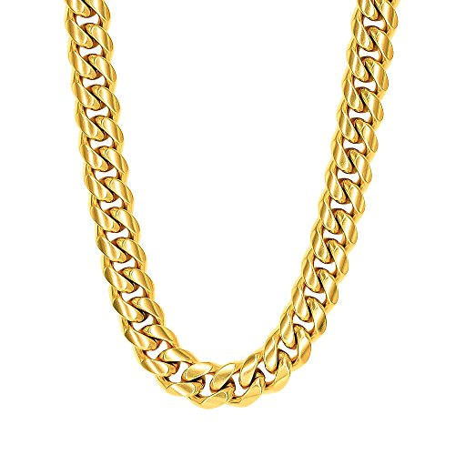 Tripod Heavy Thick Men's Miami Cuban Link Chain- 18K Gold Plated Stainless Steel 10mm-14mm (14mm22inches) - Heavy Link Chain