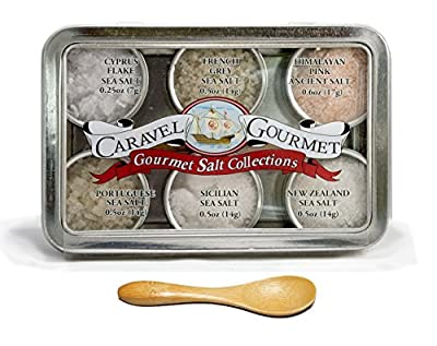 The #1 Gourmet Sea Salt Sampler - 6 Delicious Salts in Reusable Tins with a Bamboo Spoon, in a Variety of Flavor Profiles - Perfect Gift for Everyone