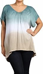 UrbanX Womens Plus Size Ombre Peasant Top