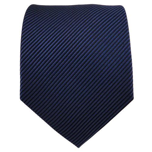 TigerTie cravate en soie bleu foncé noir rayé - cravate en soie silk