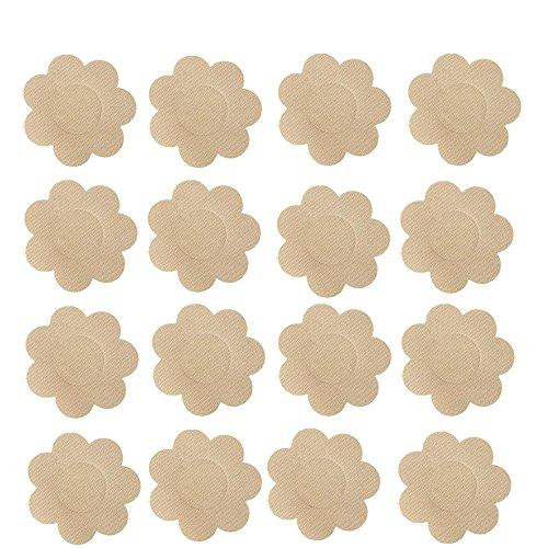 Nippleless Cover, 20 Pairs Self-Adhesive Disposable Bra Gel Petals Pad Pasties (Beige 20 Pairs)