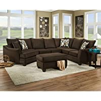 Chelsea Home Furniture 183840-4041-SEC-FE Campbell 3 PC Sectional with Right Arm Facing Corner Sofa Armless Loveseat Left Arm Facing Cuddler Toss Pillows and Fabric Upholstery in Flannel