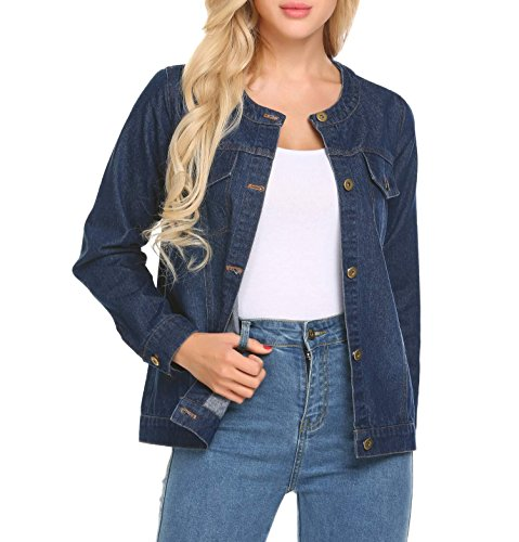 Button Cuff Denim Coat (Concep Women's Oversized Denim Jacket Button Down Stretch Coat Dark Blue Jean Jacket Plus Size)