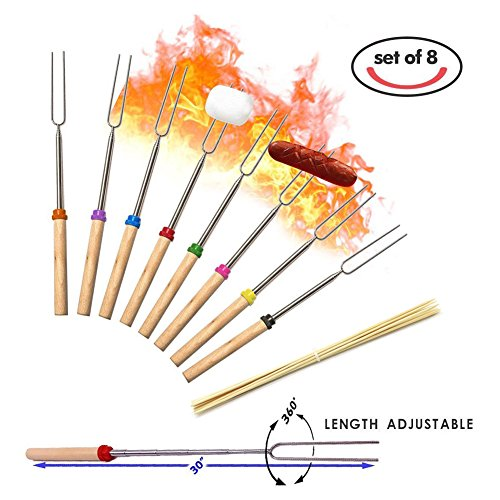 Marshmallow Roasting Sticks Set of 8-32Inch,Extending Stainless Steel Camping Stove Campfire Fire Fork,Safe for Kids,Telescoping Hot Dog BBQ Sturdy Smores Skewers,Easy To Storage/Carry