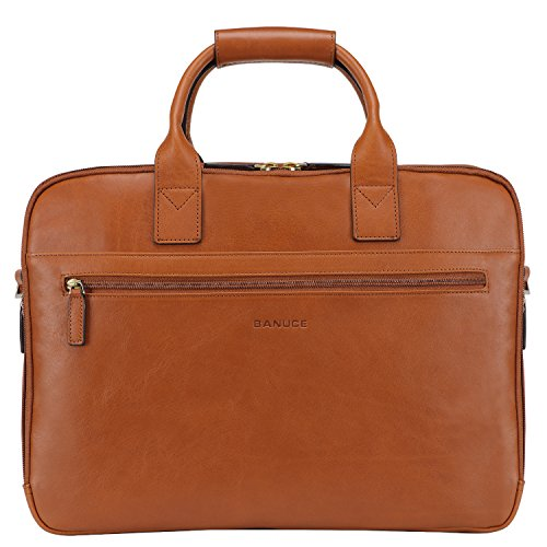 Banuce Italian Leather Tote Briefcase Business 15 inch Laptop Bag Color Beige by Banuce