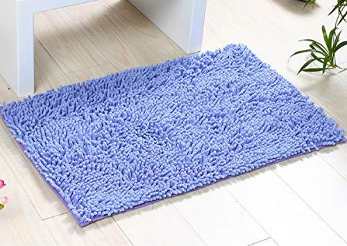 ChezMax Chenille Specific Color Non-Slip Indoor Outdoor Hello Doormat Large Small Inside Outside Front Door Mat Carpet Floor Rug Violet 16