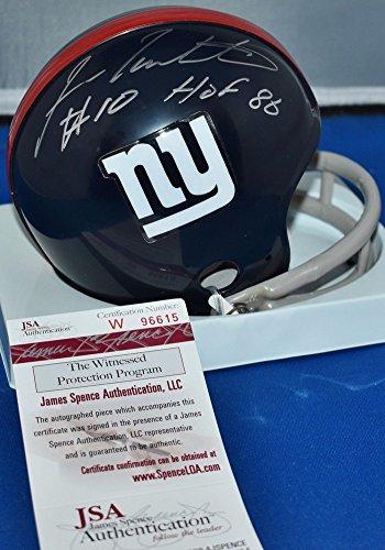 Fran Tarkenton Signed 2 Bar Throwback Mini Helmet New York Giants Hof 1986 JSA - Fran Tarkenton Throwback Helmet