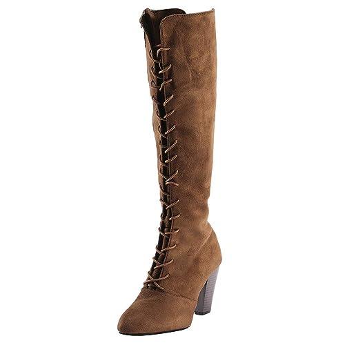 Slim Osyard Montantes Haut Femme Bottes Boots Longues Lacets Suédine Long En Hautes Chaussures Talon Daim Sexy Bottines dBWCxoer