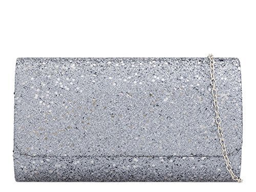 Ladies Glitter Party Evening Strap Shimmer Grey Bag Clutch Chain 4Uwrq4Z