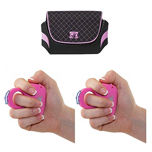Streetwise Pink Sting Ring Stun Gun with Holster Option Add-Ons (2 Stun Guns and 2 Holsters)