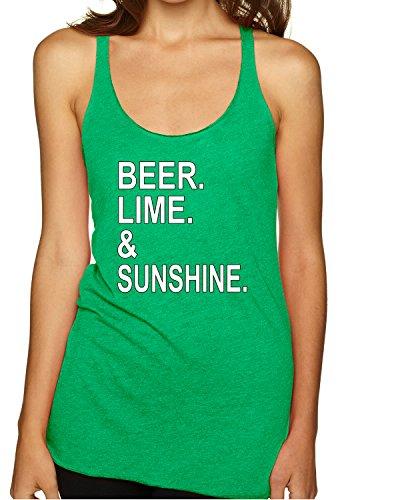 (Beer Lime & Sunshine | Womens Pop Culture Premium Tri-Blend Racerback Tank Top, Envy, Medium)