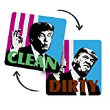 Clean Dirty Dishwasher Magnet - 4x4 inch Donald Trump President Funny Decor for Dishwasher