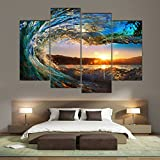 Image of Cao Gen Decor Art-S70448 4 panels Framed Wall Art Waves Painting on Canvas