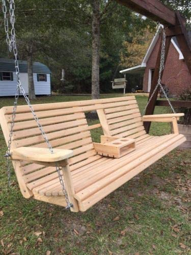 "6 Ft Cypress Porch Swing w/Flip Down Console Cup Holders (66"" Seat) 51jFGfYZd3L"