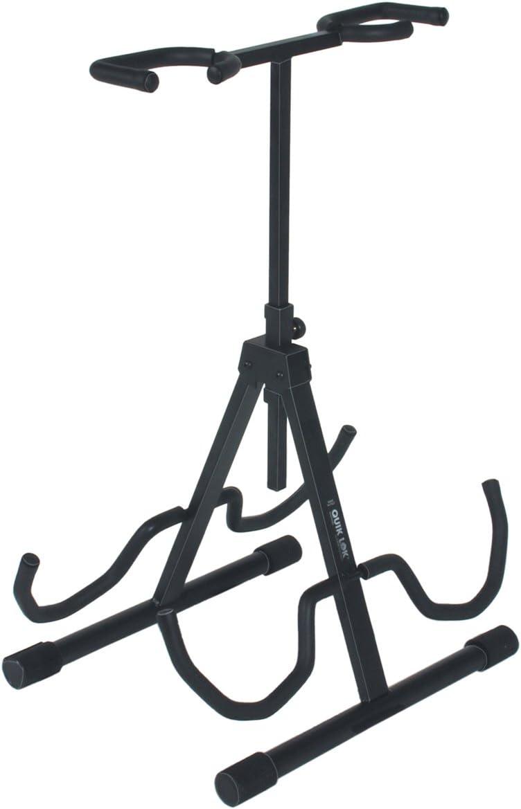 Quik Lok dinámico con cuello flexible/694 soporte para guitarra doble con altura ajustable soporte para cuello - negro