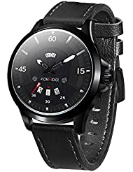 KOSSFER Men's Fashion Business Quartz Watch with Black Leather Strap Waterproof Date Display Analog Sport Wrist...