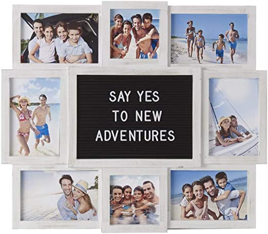 19-Inch-by-17-Inch 5230156 Melannco Customizable Letter Board with 8-Opening Photo Collage White