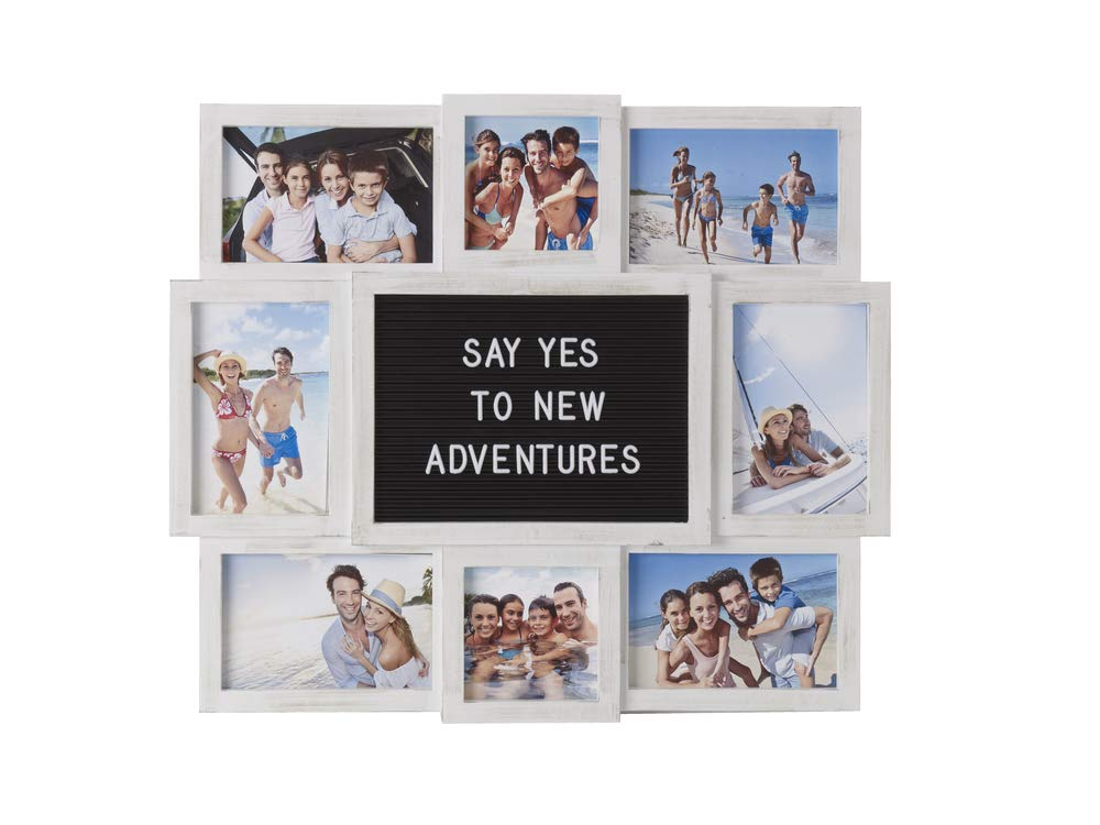 MELANNCO Customizable Letter Board with 8-Opening Photo Collage, 19-Inch-by-17-Inch, White by MELANNCO