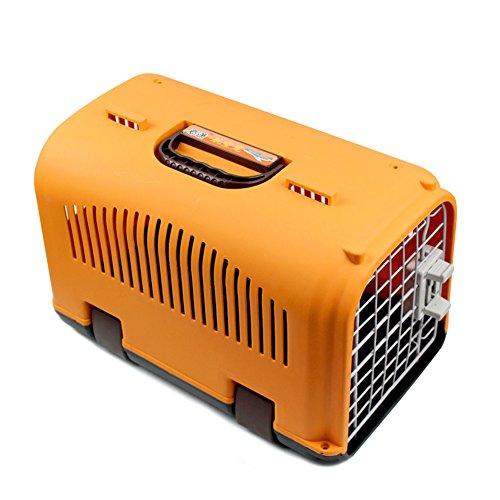 Happy Pet Dog Cat Rabbit Airline Approved Plastic Kennel Travel Carrier Car Travel Vet Visit Pet Carrier (Orange)