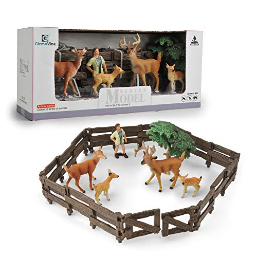 Gizmovine Animal Toys, Farm Animals for Toddlers Realistic White Tailed Deer Farm Toys Animal Figurines Family Playset Educational Toy Cake Toppers Christmas Birthday Gift for Kids Toddlers