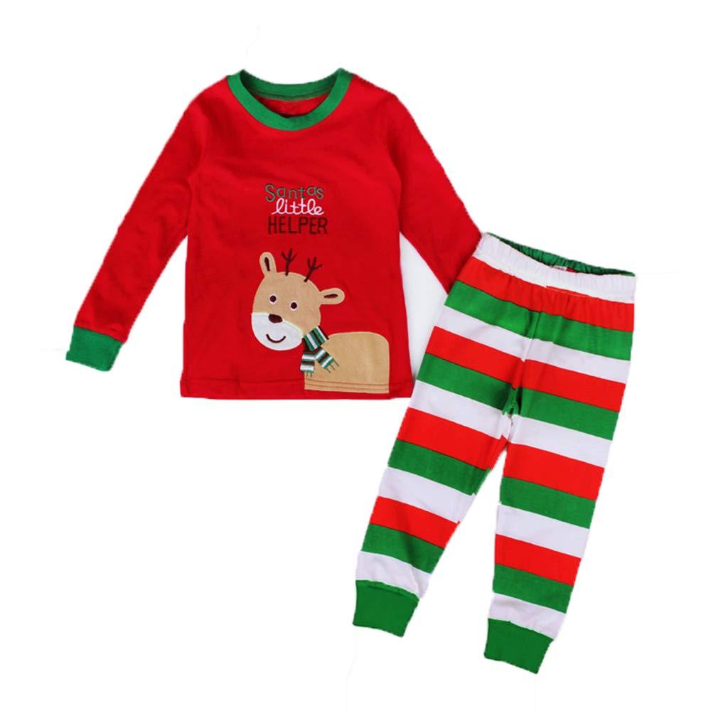 Kids Christmas Pyjamas Set Boys Girls 2 Piece Christmas Outfits Cotton Xmas Pjs Long Sleeve Santas Reindeer Tops & Bottoms Sleepsuits Nightwear for Kids