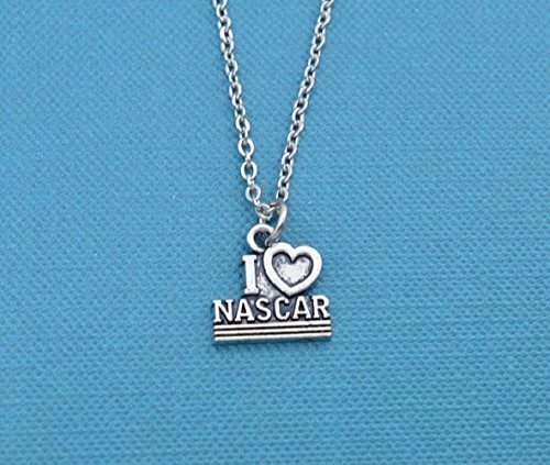 Girls, Teens or Womans I love Nascar charm pendant in silver tones on a 16 stainless steel chain with two inch extender. Nascar jewelry