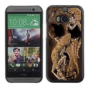 LASTONE PHONE CASE / Carcasa Funda Prima Delgada SLIM Casa Carcasa Funda Case Bandera Cover Armor Shell para HTC One M8 / Skull Deep Animal Nature Brown