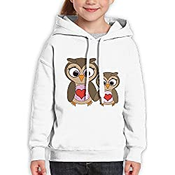 Vintopia Girl Cute Mom and Child Heart Owls Holding Hands Large Casual Style Walk White Hoodie M