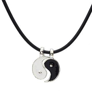 Skyllc Collana di pendente del metallo di Yin Yang di 3 X argento per gli uomini Donne Collana delle coppie di puzzle