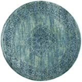 Safavieh Vintage Premium Collection VTG112-2220 Transitional Oriental Turquoise and Multi Distressed Silky Viscose Round Area Rug (6' Diameter)