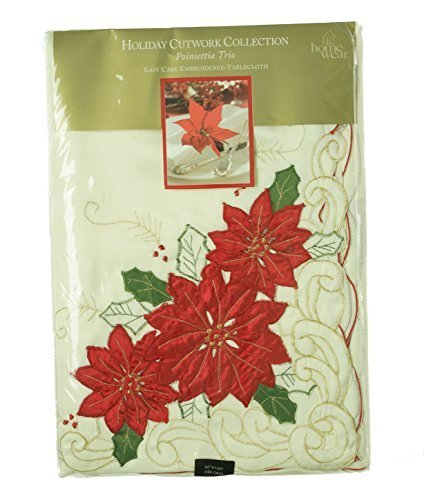(Poinsettia Trio 60x120-in Christmas Tablecloth by HOMEWEAR)