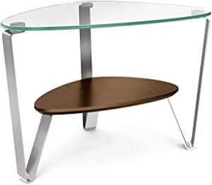 BDI Dino Glass End Table, Chocolate Stained Walnut