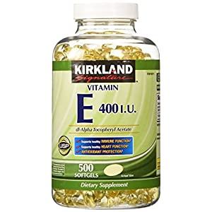 Kirkland Signature Vitamin E 400 I.U. 500 Softgels, Bottle