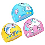 Qkurt 3pcs Cloth Swimming Caps, Cartoon Swimming Hats Bathing Cap Elastic Swimming Cap for Age 6-10 Girls and Boys